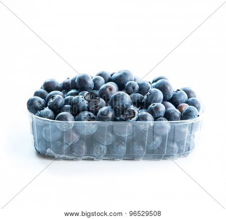 Blueberry in a plastic pack isolated on white background