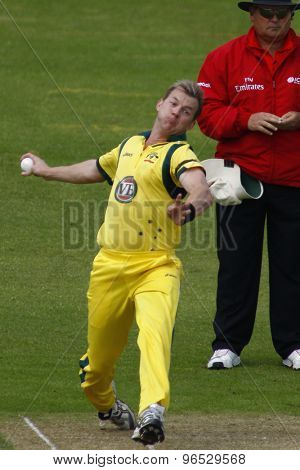 CHESTER LE STREET, ENGLAND. JULY 07 2012: Australia's Brett Lee, bowling  during the 4th one day international between England and Australia