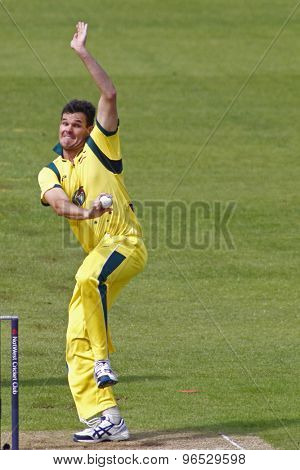 CHESTER LE STREET, ENGLAND. JULY 07 2012: Australia's Clinton McKay, bowling during the 4th one day international between England and Australia