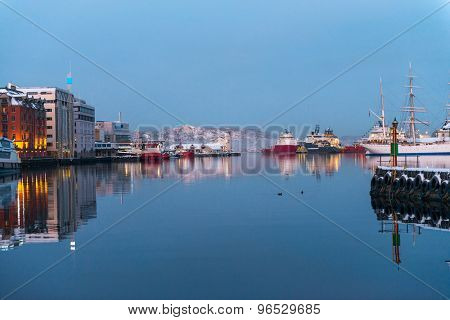 Seafront with ships in winter Bergen. Norway