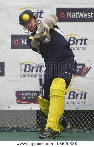 CHESTER LE STREET, ENGLAND. JULY 06 2012: Australia's Brett Lee, during the official training and net session prior to the 4th one day international between England and Australia