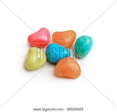 Multicolor bonbon sweets (ball candies) isolated on white  background