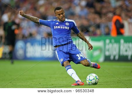 MUNICH, GERMANY May 19 2012. Chelsea's English defender Ryan Bertrand in action during the 2012 UEFA Champions League Final at the Allianz Arena Munich contested by Chelsea and Bayern Munich