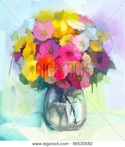 Oil Painting Still Life Of Yellow And Red Gerbera Flowers