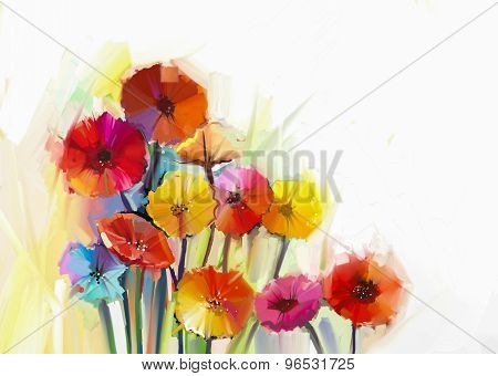 Abstract oil painting of spring flowers