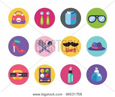 Clothes and fashion icons set. Shopping symbols. Interface elements. Stock vector illustration.