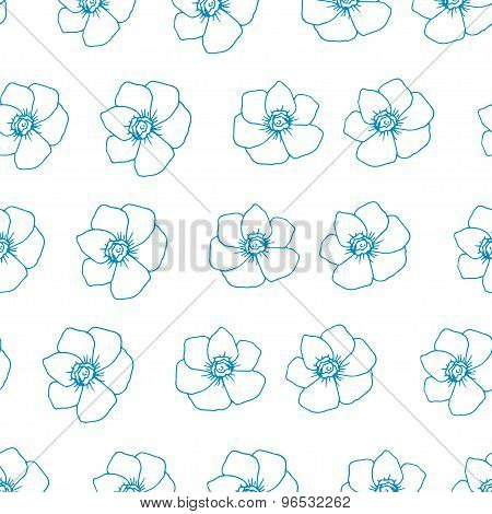 Hand drawn doodle vector floral pattern. Blossoming flowers.