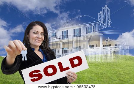 Hispanic Woman Holding Keys and Sold Sign with Ghosted House Drawing, Partial Photo and Rolling Green Hills Behind.