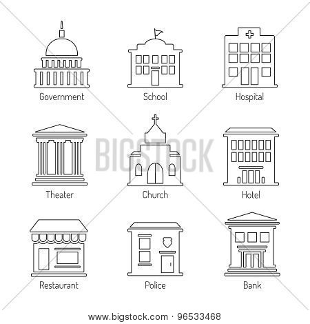 Government Building Outline Icons Set