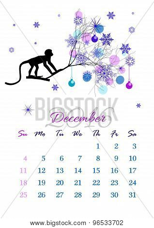 Calendar Sheet For 2016 December With Monkey On Tree Branch