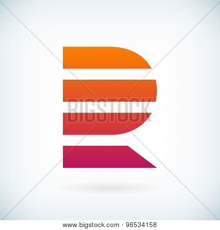 Stripes Letter R Icon Design Element Template