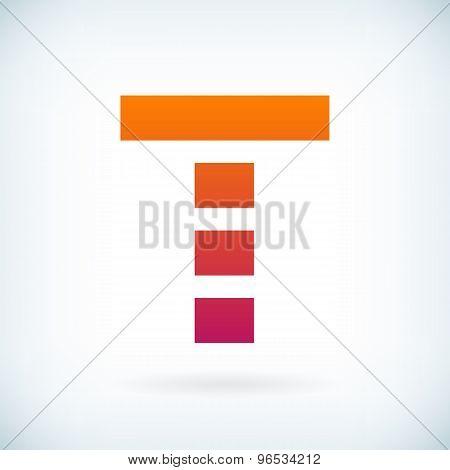 Stripes Letter T Icon Design Element Template
