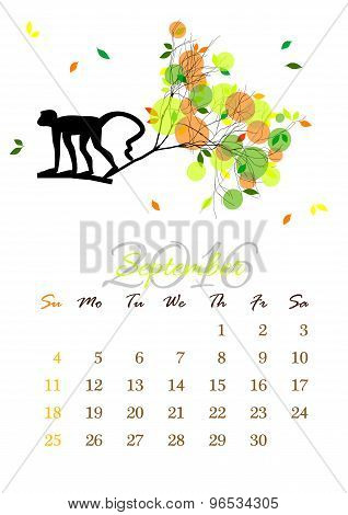 Calendar Sheet For 2016 September With Monkey On Tree Branch