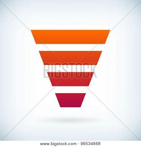 Stripes Letter V Icon Design Element Template