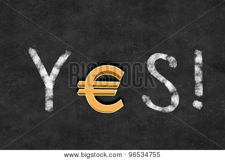 Word YES with euro sign instead of letter E