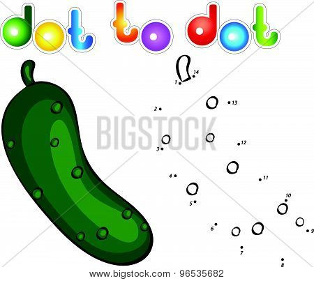 Ripe Cucumber. Educational Game For Kids: Connect Numbers Dot To Dot And Get Ready Image