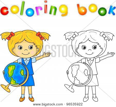 ?ute Little Girl Standing With A Globe In Hands And Smiling. Educational Game For Kids. Vector Illus