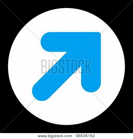 Arrow Up Right flat blue and white colors round button