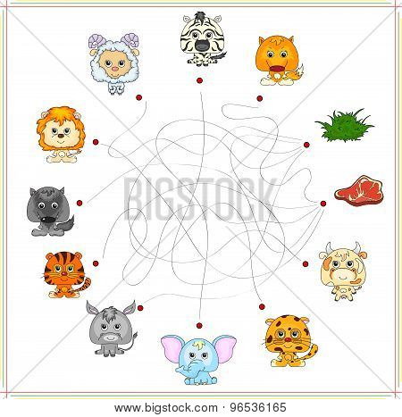 Fox, Wolf, Sheep, Lamb, Lion, Zebra, Donkey, Tiger, Elephant, Cow And Jaguar With Their Food. Carniv