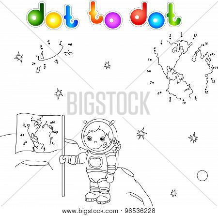 Astronaut With A Flag On The Moon. Earth And Flying Saucer In Space. Connect Dots And Get Image. Edu