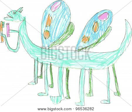 Strange Dragon Butterfly With Twelve Paws And Four Wings Holding Toothpaste And Toothbrush. Child Of