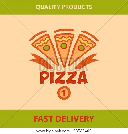 Template vector logo pizza, pizzeria.