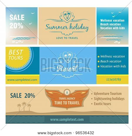 A set of banners for the travel and tourism resort.
