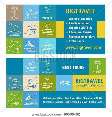 Template ads, banner icon Tourism, tour operator. Big travel.
