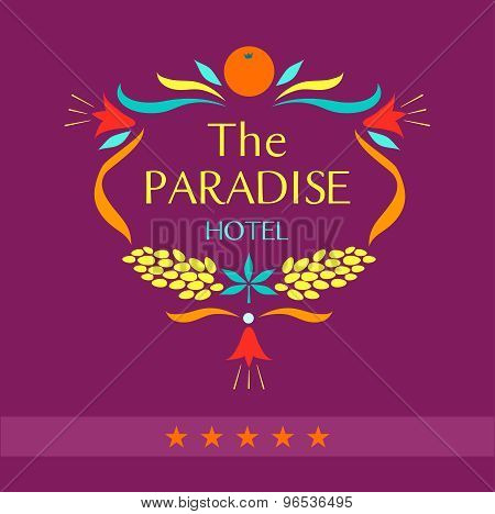 Vector logo for the hotel. The paradise.