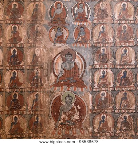 Masterpiece Of Traditional Painting Art About Buddha Story On The Temple Wall In Tiksey Monastery. L