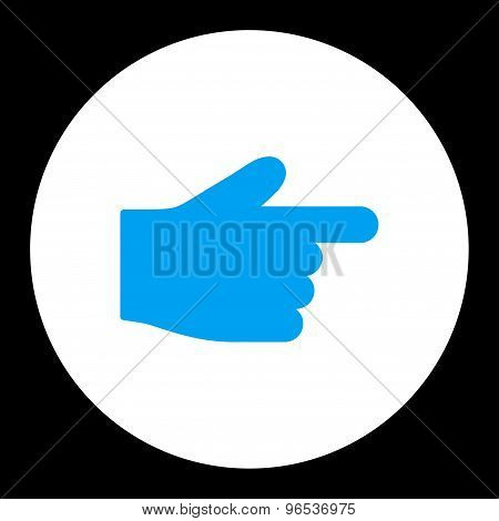 Index Finger flat blue and white colors round button