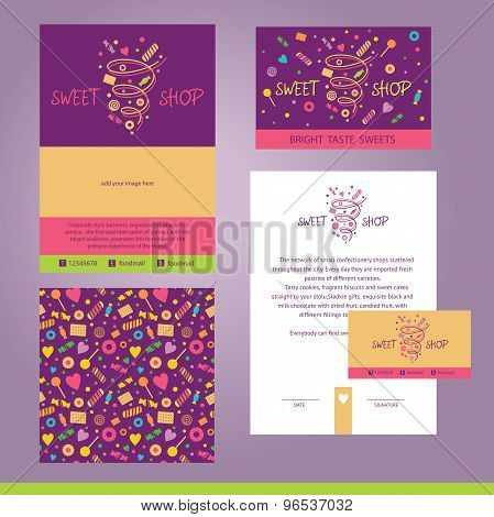 Vector stationery template design for cafe, shop, confectionery.