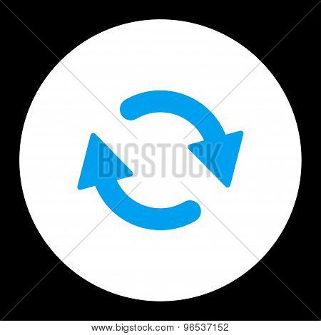 Refresh flat blue and white colors round button