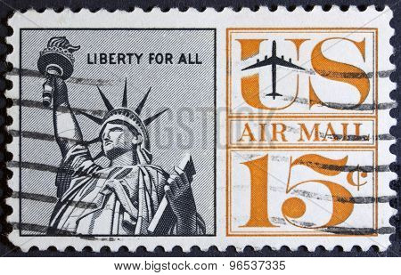 Statue of Liberty New York on a postage stamp