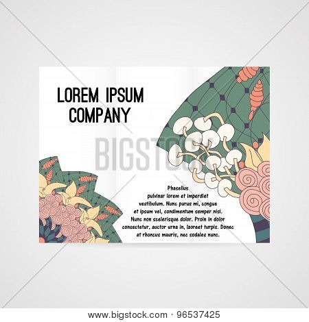 Brochure with abstract floral pattern