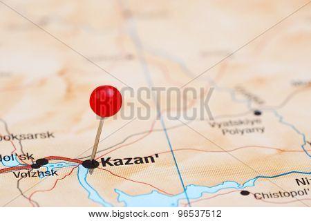 Kazan pinned on a map of europe