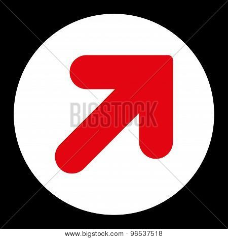 Arrow Up Right flat red and white colors round button