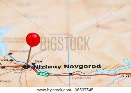 Nizhniy Novgorod pinned on a map of europe