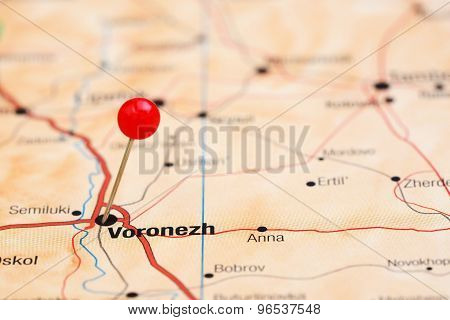 Voronezh pinned on a map of europe