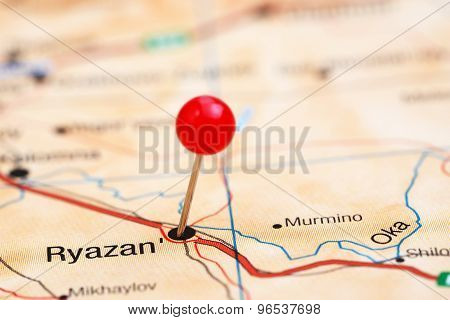 Ryazan pinned on a map of europe