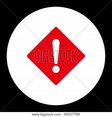 Error flat red and white colors round button