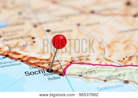 Sochi pinned on a map of europe