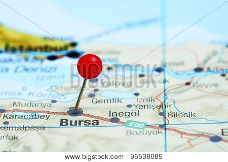 Bursa pinned on a map of europe