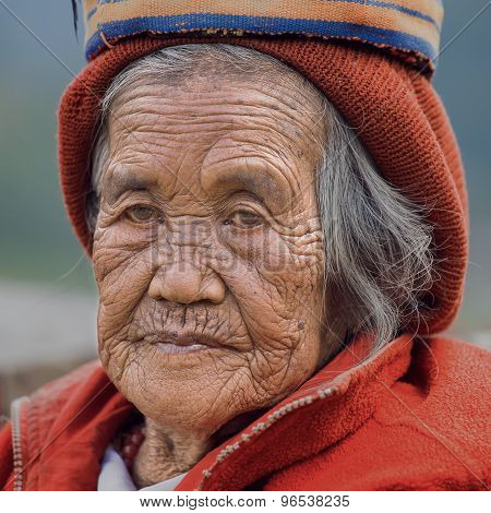 Old Ifugao Woman In National Dress Next To Rice Terraces, Philippines.