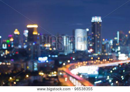 Bokeh city traffic lights night view