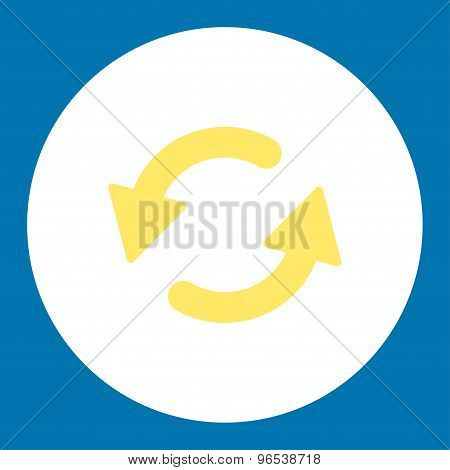 Refresh Ccw flat yellow and white colors round button