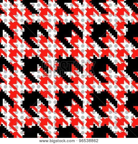 Red And Black Houndstooth Pattern With Polka Dots.
