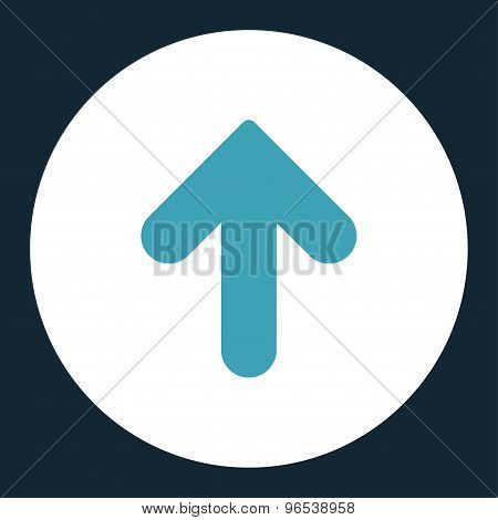 Arrow Up flat blue and white colors round button