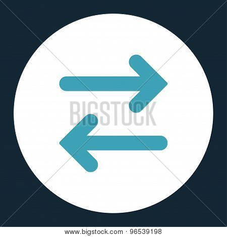 Flip Horizontal flat blue and white colors round button