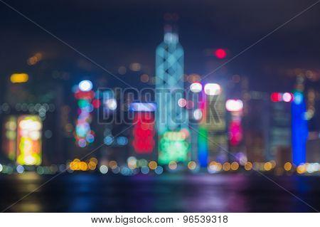 Blurred bokeh of Hong Kong business park at night